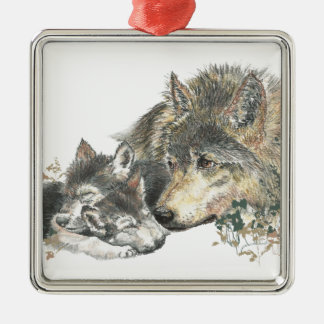 Watercolor Mother Wolf & Cubs Animal Art Square Metal Christmas Ornament