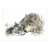 Watercolor Mother Wolf & Cubs Animal Art Postcard