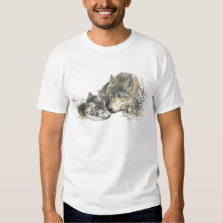 Watercolor Mother Wolf & Cubs Animal Art Tee Shirts
