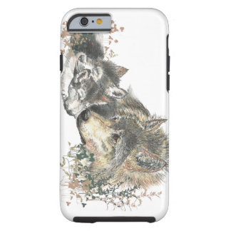 Watercolor Mother Wolf & Cubs Animal Art Tough iPhone 6 Case