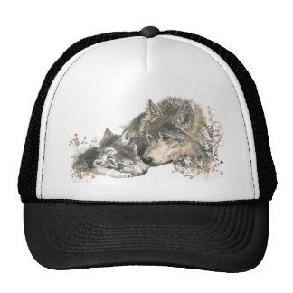 Watercolor Mother Wolf & Cubs Animal Art Trucker Hat