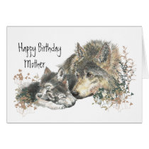 Watercolor Mother Wolf & Cubs Mom Happy Birthday Card