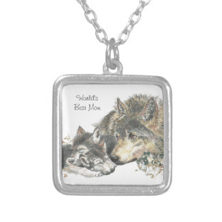 Watercolor Mother Wolf & Cubs Worlds Best Mom Square Pendant Necklace