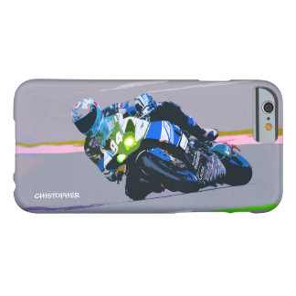 Watercolor Motorcycle Rider Circle Racing Sketch Barely There iPhone 6 Case