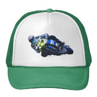 Watercolor Motorcycle Rider Circle Racing Sketch Trucker Hat