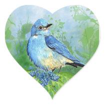 Watercolor Mountain Bluebird Blue Bird Art for the Heart Sticker