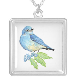 Watercolor Mountain Bluebird Blue Bird Art for the Square Pendant Necklace