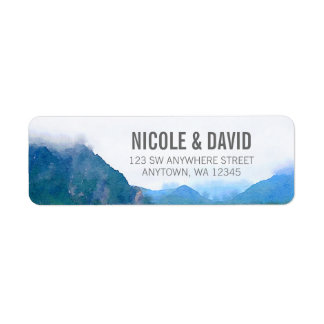 Watercolor Mountain Label
