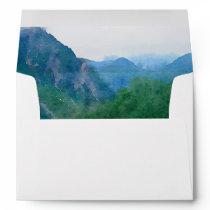 Watercolor Mountain Wedding Return Address A7 Envelope