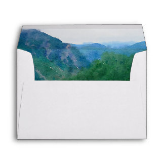 Watercolor Mountain Wedding Return Address A7 Envelope