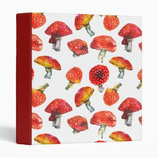 Watercolor mushrooms Cute fall pattern 3 Ring Binder