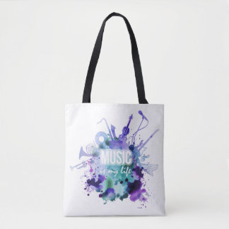 Watercolor Music Is My Life Illustration Tote Bag