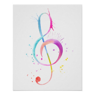 Watercolor Music Note Print
