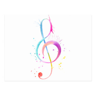 Watercolor Music Notes Postcard
