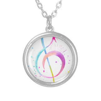 Watercolor Music Notes Silver Plated Necklace