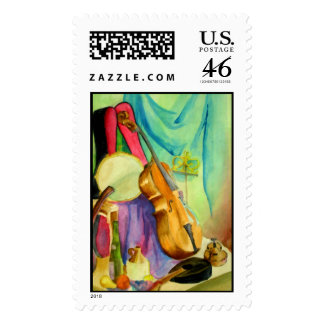 Watercolor Music Postage Stamp