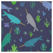 Watercolor Narwhal Under The Sea Blue Fabric
