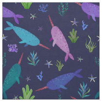 Watercolor Narwhal Under The Sea Purple Fabric