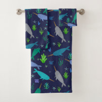 Watercolor Narwhals Under The Sea Gold Bath Towel Set