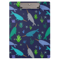 Watercolor Narwhals Under The Sea Gold Clipboard
