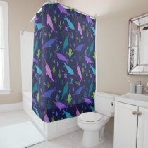Watercolor Narwhals Under The Sea Gold Shower Curtain
