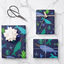 Watercolor Narwhals Under The Sea Gold Wrapping Paper Sheets