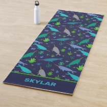 Watercolor Narwhals Under The Sea Gold Yoga Mat