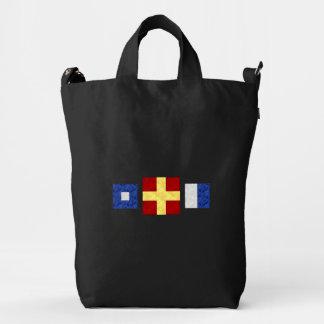 Watercolor Nautical Maritime Signal Flag Monogram Duck Bag