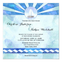 Watercolor Nautical Sailboat Wedding Invitation