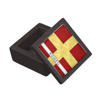 Watercolor Nautical Signal Maritime Flag Jewelry Box