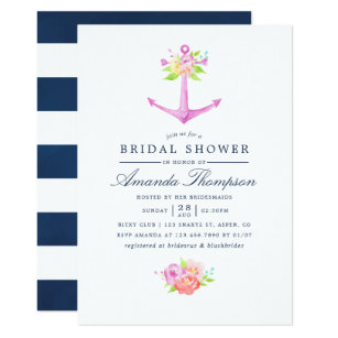 Nautical Themed Bridal Shower Invitations Announcements Zazzle
