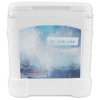 "Watercolor Nautical ""To the Sea"" Rolling Cooler"