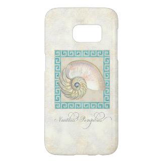 Watercolor Nautilus Shell Greek Key Damask Beach Samsung Galaxy S7 Case