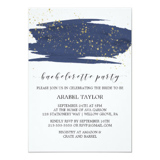 Watercolor Navy and Gold Bachelorette Party Card