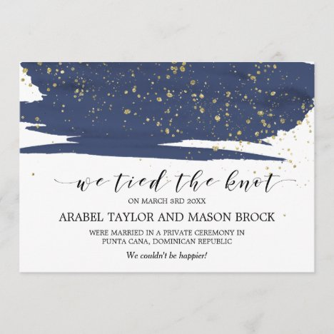 Watercolor Navy and Gold Elopement Announcement