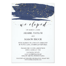 Watercolor Navy and Gold Elopement Reception Card