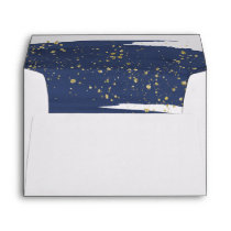 Watercolor Navy and Gold Lined Wedding Invitation Envelope