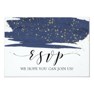 Watercolor Navy and Gold Song Request RSVP Card