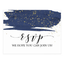 Watercolor Navy and Gold Song Request RSVP Postcard