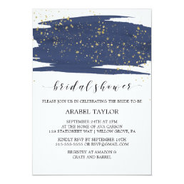 Watercolor Navy and Gold Sparkle Bridal Shower Card