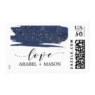 Watercolor Navy and Gold Sparkle Love Wedding Postage