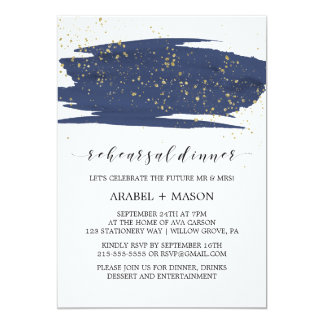 Watercolor Navy and Gold Sparkle Rehearsal Dinner Card