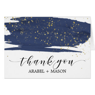 Watercolor Navy and Gold Sparkle Thank You
