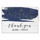 Watercolor Navy and Gold Sparkle Thank You Card