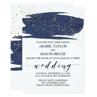 Watercolor Navy and Gold Sparkle Wedding Card