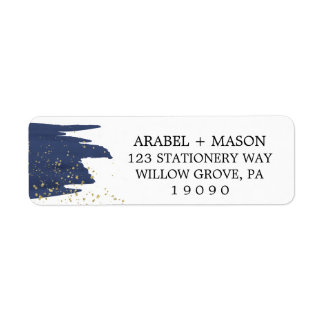 Watercolor Navy and Gold Sparkle Wedding Label