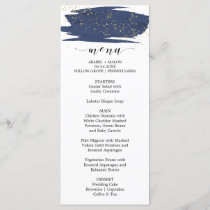 Watercolor Navy and Gold Sparkle Wedding Menu