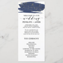 Watercolor Navy and Gold Sparkle Wedding Program