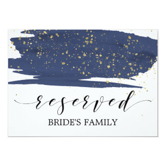 Watercolor Navy and Gold Wedding Reserved Sign Card