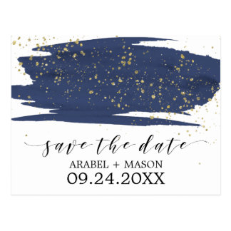 Watercolor Navy and Gold Wedding Save the Date Postcard
